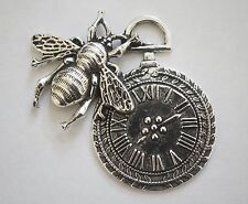 1 Large Metal Steampunk AntiqueSilver Bee Clock Charm/Pendant - 42mm