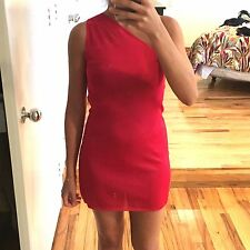 CELINE RED ONE SHOULDER SHORT DRESS, SIZE 36