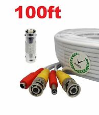 *100ft HD Security Camera Extension Video Power Cable BNC CCTV DVR Surveillance