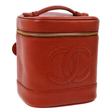 Auth CHANEL CC Cosmetic Vanity Hand Bag Red Caviar Skin Leather Vintage V11792