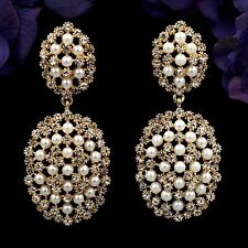 18K Gold Plated GP Clear Crystal Pearl Chandelier Drop Dangle Earrings 07781