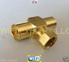 1x Gold F Type TV Male Jack to 2 DVB TV PAL Female Jack RF T 3 way adapter conct