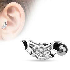 "16g 1/4"" Paved Clear CZ Bat Wing Cartilage Tragus Ear Barbell Earring"