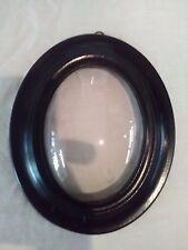 cadre napoléon 3 ovale bois noir peint  verre bombé frame