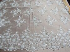 White French Design Embroider And Beaded On A Mesh Lace. Wedding/Prom/Fabric.