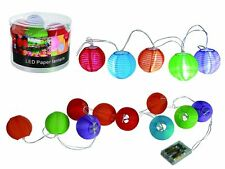 Bunte Party Laternenkette Lampionkette 10 LED Ø 7,5cm lang 2,4m für 3 Batterien