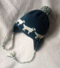 GOLDEN RETRIEVER  dog NEW knitted lined TEAL ADULT TRAPPER EAR FLAP HAT