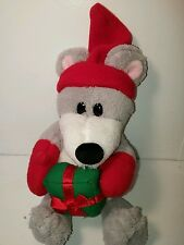 Christmas gray stuffed mouse with gift toy