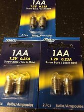 Dorcy Replacement Bulbs 1AA 1.2v Screw Base Lot of 3 (6 Bulbs)
