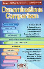 DENOMINATIONS COMPARISON Pamphlet Christian Church Fold Out Chart Study Aid