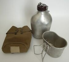 Vintage French Aluminum Canteen, Cup & Carrier
