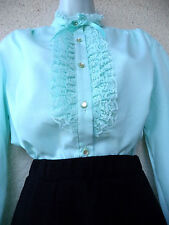 VTG Victorian Style High Neck BLOUSE Secretary Ruffled Ascot Jabot Lace BOW LG