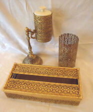 Gold Metal Ormolu Vanity Accessories Tissue Cups Hairspray Holder Vtg Hollywood