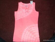 justice - girls size 20  lace up  tank top--pinkish tyedye-- nwt