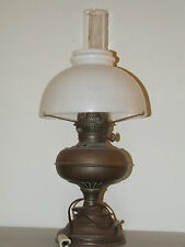 Antique 1800's Brass Rayo Electric Oil GWTW Table Lamp with Milk Glass Shade