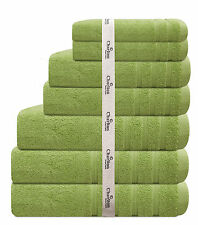 7 PCE 575GSM EGYPTIAN COTTON TOWEL SET 2x BATH / HAND / FACE TOWELS 1 xMAT GREEN