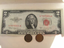 One Red Seal US$2 Bill Paper +Two Old One Cent USA Coins: VALUE SALE 3/LOT, RARE