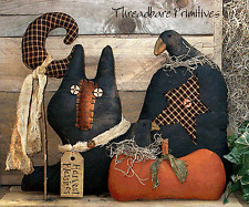 PATTERN Primitive Halloween Black Cat Crow Pumpkin Star Moon Doll TBP FREE SHIP