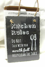 SLATE NOVELTY HANGING WALL PLAQUE 'KITCHEN RULES' IDEAL GIFT HOME SWEET HOME