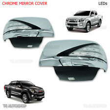 FITT Chrome Mirror Cover Trim With Light Led For Isuzu Dmax D-Max Mux 2012 2016