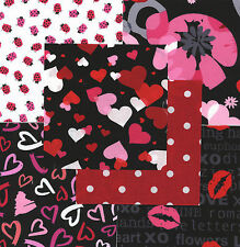 """Valentine's Hearts 30 4"""" fabric squares quilt flowers 100% cotton quilting"""