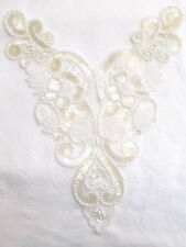 IR-YOKE NECKLINE APPLIQUE Seed PEARLS BEADED ANTIQUE IVORY SEQUINS Bridal