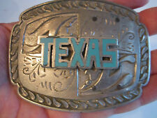 "VTG. TEXAS BELT BUCKLET - HEAVY METAL - 4"" X 3"" FITS 1 1/2"" BELT  - BN-8"