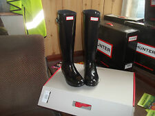 Brillo Hunter Wellies Wellingtons en Halifax Talla 8 Original Señoras Negras De Alto