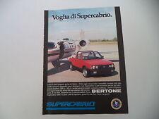 advertising Pubblicità 1985 FIAT RITMO SUPER CABRIO BERTONE