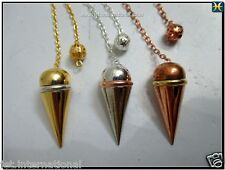 Domed Classic Cone 3 Metal Pendulum Copper Gold Silver Plating Healing Dowsing