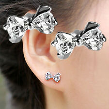 CUTE 925 Silver BOW AUSTRIAN Crystal  Stud Earring Ladies Gift UK