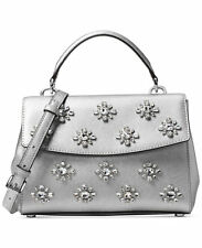 NWT InPack MICHAEL KORS Leather Ava Jewel Crystal Small Satchel Crossbody Silver