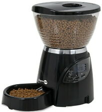 Petmate 5LB Le Bistro Portion Control Black Cat Dog Feeder