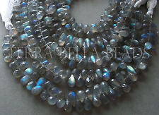 "3.5"" strand SPECTROLITE LABRADORITE faceted teardrop briolette beads 7mm - 9mm"