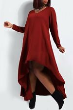 BURGUNDY BOHO HIGH LOW HEM PEASANT DRESS L-XL NEW CHURCH PARTY CASUAL WEDDING