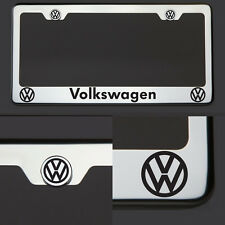 Volkswagen VW Black Laser Engraved Stainless Steel License Plate Frame Chrome