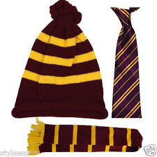Kids Harry Potter Purple & Yellow Scarf Hat Tie World Book Day Fancy Dress Set