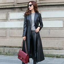 Formal Fashion Womens Long Trench Coat Faux Leather Slim Belt Jacket Windbreaker
