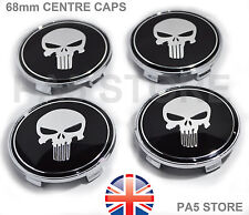 4x PUNISHER SKULL BMW WHEEL CENTRE HUB CAPS 68mm BBS MV1 MV2 E46 E36 E90 E34 UK
