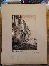 Encre de Chine Metz Rue des Murs André Simon 1926-2014 1948 Artiste Lorrain