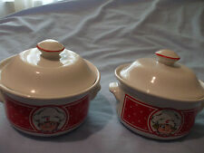 Vintage Campbells Soup Bowls with Handles and Lids Boy & Girl EUC