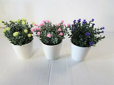 3 Assorted Artificial Mini Flowering Plant In Pot - Purple Yellow Pink - 16x10cm