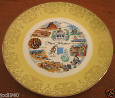 New Mexico Souvenir Plate Yellow Gold Yucca Sante Fe Mojave Desert Train Capitol