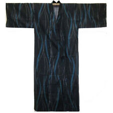 "Japanese Men's 100% Cotton 60""L Yukata Kimono Robe Navy Stripe, Made in Japan"
