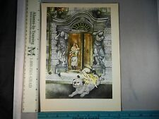 Rare Antique Original VTG Who Let The Dog Out Color Litho Art Print