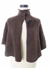 Anthropologie Brown Lambs Wool Cape Poncho Capelet Hazel Size Small