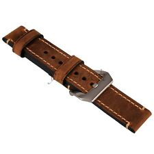 Genuine Leather Brown Watchband Watch Strap 22mm Vintage Style Wristwatch Band