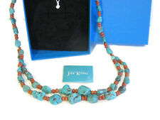 """NIB Jay King Turquoise Nugget  & Coral Beaded Sterling Silver Necklace 22-1/4"""""""