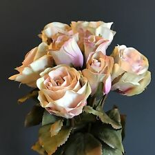 Bunch of 9 Dusty Pink Artificial Roses, Dusky Pink Faux Silk Rose Bud Flowers