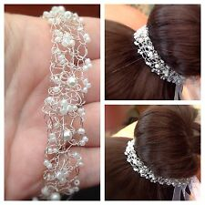 wedding hairband, hair vine,Tiara, crown, headdress,Boho crocheted wire lace 10""